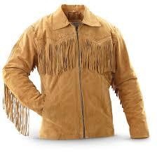 vintage style western fringed leather jacket tan