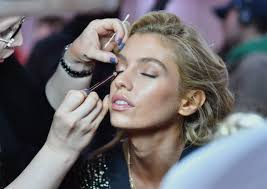british model stella maxwell prepares for the 2018 victoria s secret fashion show in hair and makeup