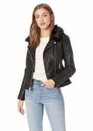 guess women s leather moto jacket with removeable faux fur trim