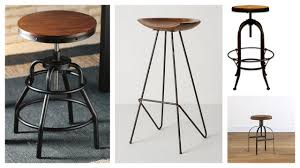 Unique Designs of Bar Stools with Round Wood Tops and Unusual Legs and Base  Designs