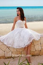 a line short beach summer wedding dress strapless sweetheart