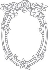 Glass etching stencil of Rose and Oval Frame In category Birds