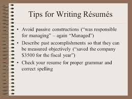Tips for Writing Rsums
