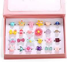 PinkSheep Little Girl Jewel Rings in Box, Adjustable ... - Amazon.com