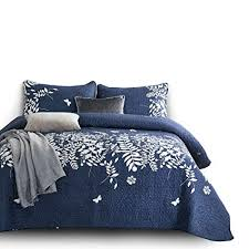 navy and white quilt.  White Wake In Cloud  3pcs Navy Blue Quilt Set Gray Grey Floral Flowers Tree  Leaves And White