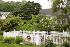 white picket fence garden