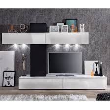 Bremen Living Room Wall Unit In White Gloss And Black With LED_1
