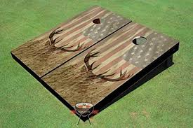 Wooden Corn Hole Game Amazon American Flag With Deer in the Grass Custom Cornhole 75