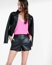 express high rise leather short