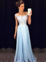 affordable scoop neck blue chiffon tulle appliques lace floor length prom dresses