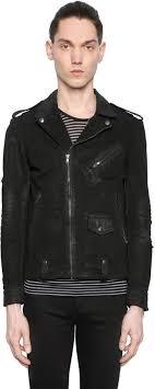 the kooples waxed vintage cotton denim biker jacket