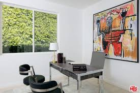 office in house. The Inside Look Of Property Is Jaw-dropping. White Walls Are Perfect With Glass Ceiling While Recessed Lights Perfectly Scattered Office In House
