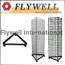 black triangle display slatwall tower with base casters