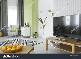 Room White 3d Wallpaper Tv Stock Photo ...