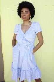 Light Blue And White Dress Plante Pampas Gingham Dress Light Blue White Gingham