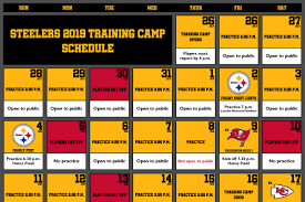 Pittsburgh Steelers Announce Complete 2019 Training Camp