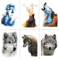 Hxman Akvarel Vlk Tygr Dočasné Tetování Vodotěsné ženy Falešné Děti