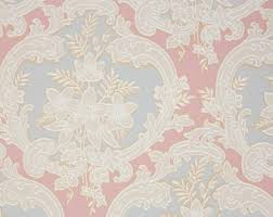 vintage wallpaper. Brilliant Vintage 1940s Vintage Wallpaper By The Yard  Victorian Blue And Pink Damask With