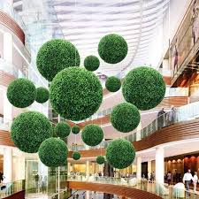 details about artifical plastic hanging green grass ball plant home garden wall decor 12 30cm