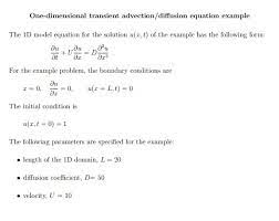 one dimensional transient advection