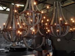 reclaimed wood wine barrel chandeliers
