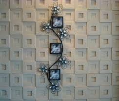 wall metal decor modern home decoration creative metal wall art flower with three photo frames as wall metal decor