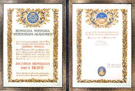 jacobus h van t hoff nobel diploma nobel diploma