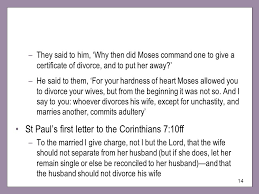 St Paul's first letter to the Corinthians 7 10ff