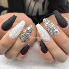 Black Coffin Shape Nail Designs Pin By Destiny On Nails Black Silver Nails Holographic