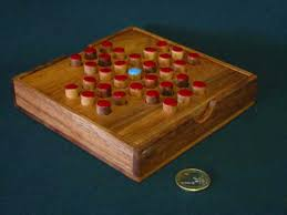 Wooden Peg Solitaire Game Large square peg 21