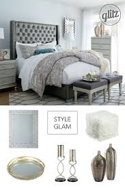 Hollywood glam style for the bedroom! Think upholstered bed with  crystal-inspired trim,