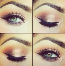 carefully start by applying a think line of dark eyeliner on the top eyelid from the inner corner to the outer corner make sure you are keeping the line