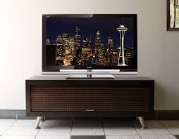Furniture, Beautiful Small Modern Tv Stand Featuring Chrome Legs And Tiled  Wooden Door Cabinet: