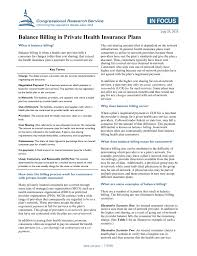 So, how do you find a provider who's in your health plan's network? Balance Billing In Private Health Insurance Plans Everycrsreport Com