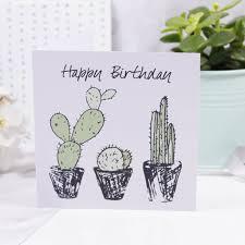 Happy Birthday Cacti Print Birthday Card By Olivia Morgan Ltd
