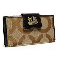 Coach In Signature Large Khaki Wallets ARR