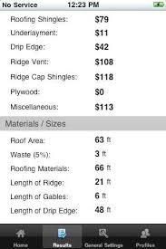 roof repair estimate. roofing calculator results screen roof repair estimate