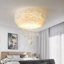 white pink grey feather ceiling lights