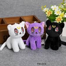 anime cartoon sailor moon luna plush toys pendant soft stuffed animal dolls with ring 10 5cm