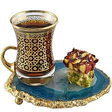 tea glass 24 oz with agate coaster gemstone gold etched copper color moroccan drinkware turkish tea