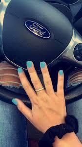 Nails Acrylic Square Babyblue Blue Short Short Square
