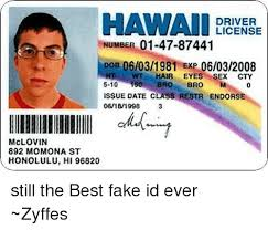Hair Restr Bro Dob 06032008 Driver Hi 892 06031981 150 Cty 5-10 Exp Swt Issue Hawaii Endorse Still Class Honolulu 96820 01-47-87441 Number Date Me me M St Meme On Id Ever ~zyffes Fake License Eyes Mclovin Momona The 06181998 Sex Best