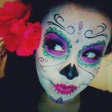 green and pink sugar skull makeup day of the dead sugar skull makeup