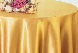 132 round satin tablecloth gold 55927 1pc pk
