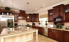 Cherry Kitchen Cabinets With Off White Island