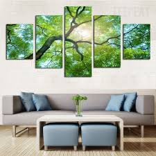 green tree under the sun 5 piece canvas prints printable painting