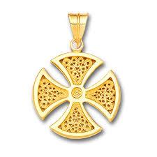 18k solid gold maltese canterbury filigree cross pendant a medium culturetaste