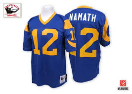 Ness Angeles Namath Authentic Los Nfl Rams 12 Mitchell And - Blue Jersey Joe Throwback