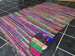 fair trade second nature fringed multi coloured chindi rag rug mat choose from fourteen sizes