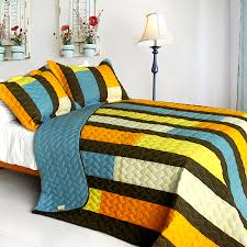 Blue Brown Yellow Striped Teen Boy Bedding Full/Queen Quilt Set ... & Blue Brown Yellow Striped Teen Boy Bedding Full/Queen Quilt Set Colorful  Cotton Bedspread Adamdwight.com